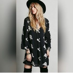 Free People embroidered flower black dress